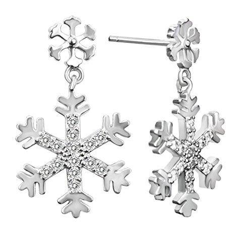 Elensan Plata de ley 925 Ear Cuff Stud Pendientes Cristal Copo de Nieve Pendientes de Gota