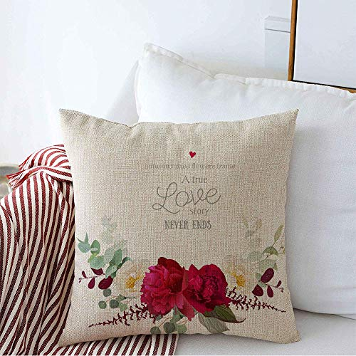 Decorative Linen Square Throw Pillow Cover Burgundy Elegant Autumn Floral Bouquet Red Fall Nature Wedding Peony White Garland Blossom Vintage Soft Cushion Pillowcase Case for Bed Chair 18 x 18 Inch