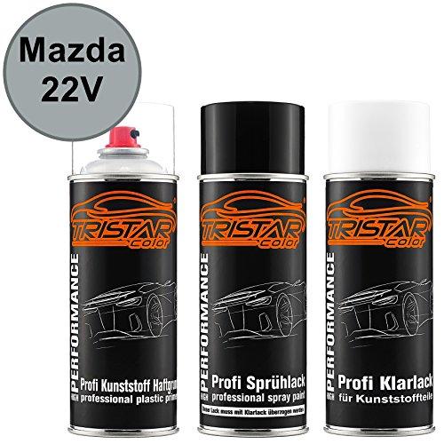 TRISTARcolor Autolack Spraydosen Set für Kunststoff Stoßstange für Mazda 22V Sunlight Silver Metallic/Satinsunlight Silber Metallic Haftgrund Basislack Klarlack mit Weichmacher Sprühdose