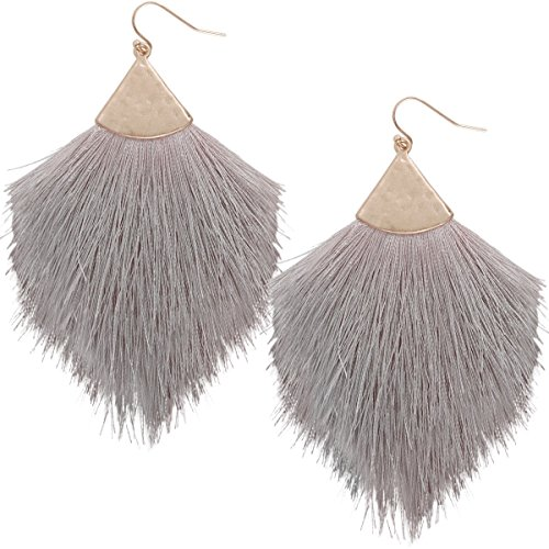 Humble Chic Fringe Tassel Statement Dangle Earrings - Lightweight Long Feather Drops, Grey, Dove Gray, Gold-Tone