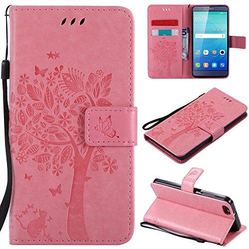 Ooboom® Huawei ShotX Hülle Katze Baum Muster Flip PU Leder Schutzhülle Handy Tasche Hülle Cover Standfunktion mit Kartenfächer für Huawei ShotX - Rosa