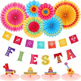 Fiesta Supplies Mexican Party Decorations Set with Paper Fans Multicolored Fiesta Banner Fiesta Honeycomb Table Centerpiece for Fiesta Mexican Cinco De Mayo Party