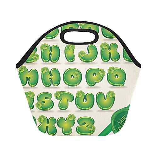 Sac à lunch en néoprène isolé drôle vert Patrick Day Alphabet Clover grande taille réutilisable thermique épais sacs fourre-tout à lunch pour les boîtes à lunch