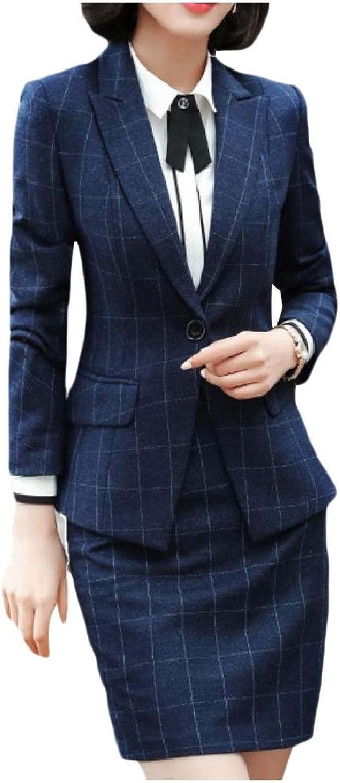 Mfasica Womens Panelled Business Lapel 1 Button Shirt Jacket Skirt Suit
