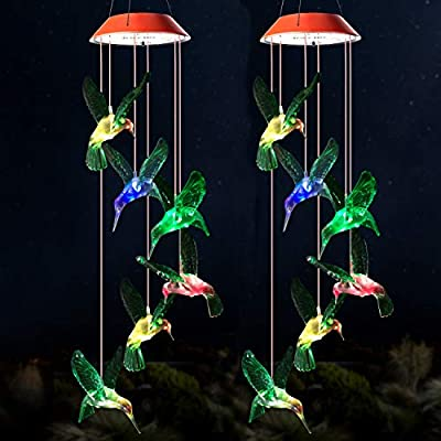 2 Pcs Wind Chime,Hummingbird Wind Chimes Outdoor Indoor,gifts for mom,hummingbird wind chime,solar wind chimes,mom gifts,birthday gifts for mom,grandma gifts,gardening gift,outdoor decor