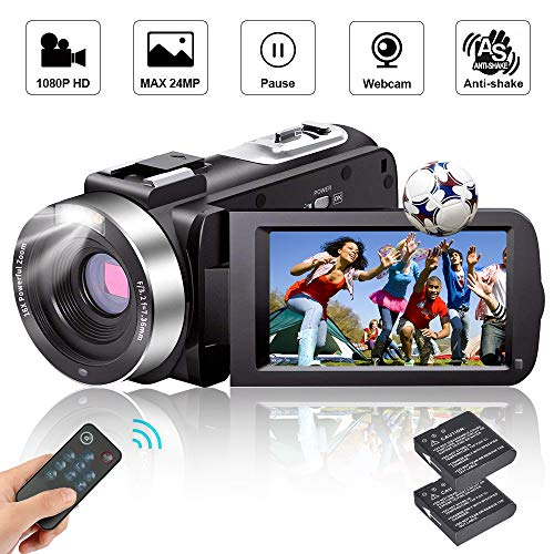 Camcorder Video Camera Full HD Camcorders 1080P 24.0MP Vlogging Camera with 2 Batteries and...