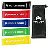 Motus Edge Mini Exercise Resistance Bands - Set of 5, Variable Strength - Instructional Guide & Handy Carry Bag…