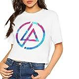 Custom Custom Linkin-Park Logos Printing Crop Top Summer Short tee for Women's Camisetas y Tops(Medium)