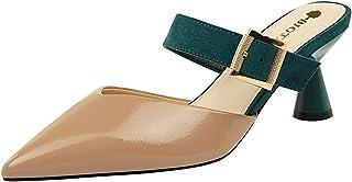 TAOFFEN Women Fashion Closed Mules Mid Heels
