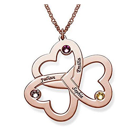 JunMei Familie Namenskette mit Geburtssteinen Herz Anhänger Gravur - Personalisierte Namenskette Silber 3 Namen für Mütter