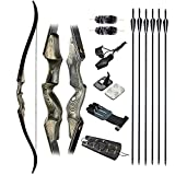 IRQ Archery Recurve Bow Takedown Bow and Arrow Set, 60' Hunting Recurve Bow for Adult Right Hand Bow 30-50 Lbs Bow Hunting Target Practice (50 Lbs)