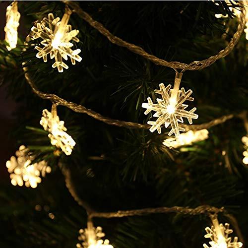 Weihnachtsbaum Schneeflocke LED String Lichterketten Weihnachtsfeier Familie Hochzeit Girlande Lichterketten Batterie 6m60 LEDs