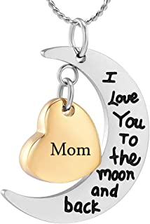 I Love You to The Moon and Back Memorial Urn Necklace for Ashes Keepsake Cremation Jewelry for Pet Human