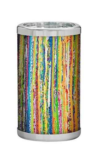 PLATEX 730050829 Bouteille Isotherme avec RECHARGES EUTECTIQUES-Bague CHROMEE - Iris, Plastique-Gel Tissu, Jaune-Bleu-Rouge, H22,5cm-Ø13cm