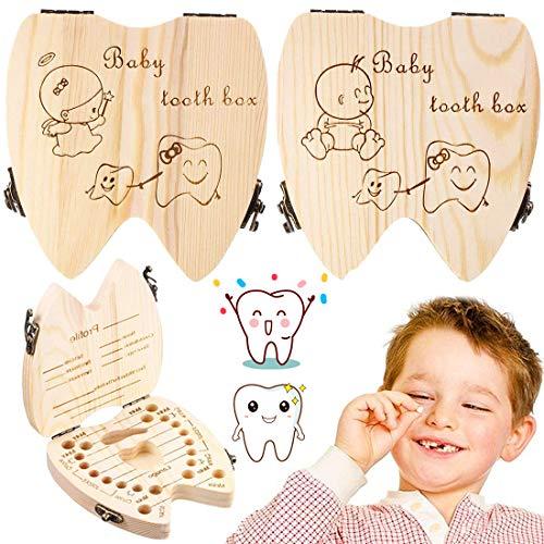 BESTZY Zahnbox Holz Milchzähne Box, Milchzahndose aus Holz zur Deutsch Wort Milchzahnbox für Jungen Mädchen Souvenir Box Weihnachten Geschenk