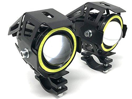 Motorrad Projektor LED Scheinwerfer & Weiß Halo Ringe für Adventure Bikes & Quads - Paar - 10W 3000LM