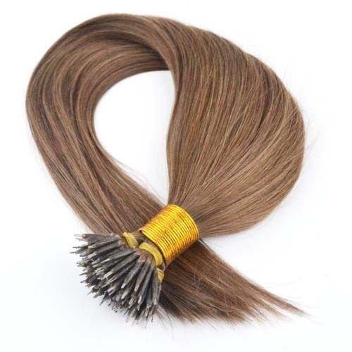 Extensiones de pelo Nano Anillo, color marrón ceniza #8, 40,6 cm, 45,7 cm y 50,8 cm de largo, pelo Remy brasileño + anillos incluidos (50,8 cm de largo)