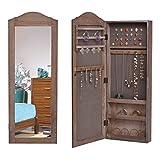 COSTWAY Armoire à Bijoux Mural avec Miroir Armoire de Rangement MDF 35,2 x 9,2 x 96 cm Brown