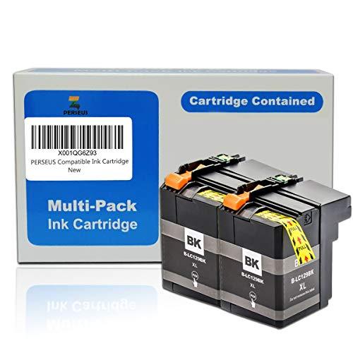 PERSEUS Cartuchos de Tinta Reemplazo para Brother LC129XL Negro álta Capacidad, Compatible con MFC-J6520DW, MFC-J6720DW, MFC-J6920DW Impresora, LC129 XL BK x2