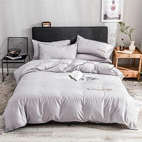 FJXJLKQS 4 Piece Satin Silk Flower Bedding Sets King Bed Size Duvet Cover,Fitted Sheet, Pillow Cases Set by,Gray-220x240cm