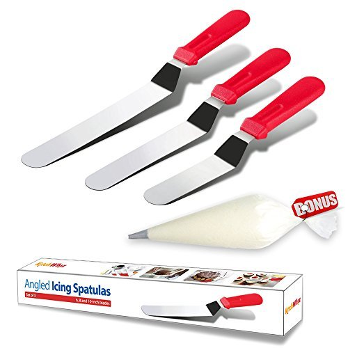 Cake Decorating Spatula from KitchWhiz, The ONLY Professional icing spatula set including 6