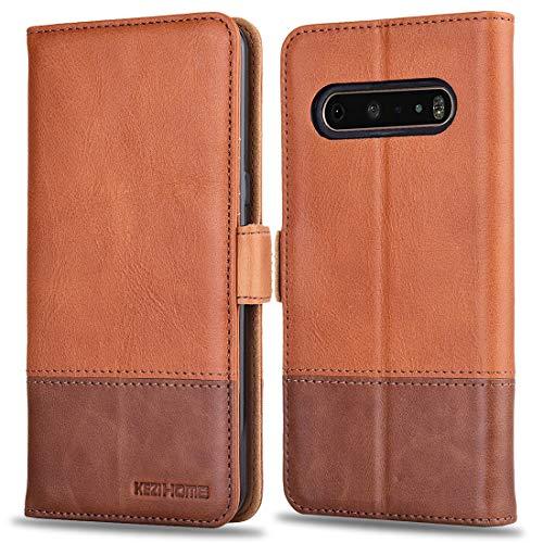 KEZiHOME LG V60 ThinQ Hülle, Echtleder [RFID-blockierend] LG V60 ThinQ 5G Brieftaschen-Schutzhülle mit Kartenfach, Standhalter, Magnetverschluss für LG V60 ThinQ 2020, Khaki/Braun