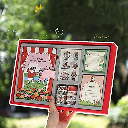 MLOPPTE Caja de regalo de cuenta manual,libro de cuentas de mano papelería caja de regalo juego de 109 piezas bolsa de regalo grande cinta adhesiva pegatina bloc de notas Bag-SweetHouse