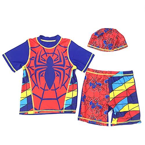 Hflyy Traje Baño Niños Traje Neopreno Spiderman Traje Baño para Niño Traje Baño Superhéroe Traje De Surf Verano Traje Sol para Piscina Protección UV Rash Guard Pantalones Cortos De Baño,Red-L