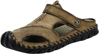 Men Leather Hollow Sandal | Round Toe Stitching Clog Mule Shoes | Fashion Beach Walking Slipper