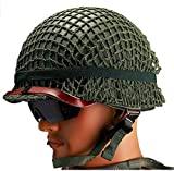 1PK Classic WWII US Military M1 Army Green Double-Layer Helmet Scale 1:1 Replica with Gird Mesh Canvas Chin Strip Cat Eye Band Leather Belt Adjustable Size Inter Ring
