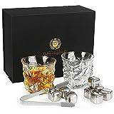 Kollea Whisky Set Geschenk, Whiskeygläser aus Kristall und Whiskey Steine mit 2 Gläser und 8...