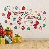 Wallflexi Navidad Decoraciones Pegatinas de Pared Merry Christmas 'Juego de decoración de Pared murales Adhesivos salón niños guardería Escuela Restaurante Cafe Hotel casa Oficina decoración