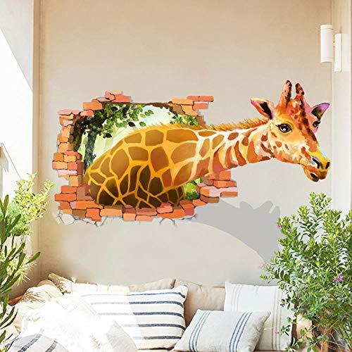 Kreative 3D Stereo Effekt Schlafsaal Wandaufkleber Personalisierte Gemalte Giraffe Wohnzimmer Schlafzimmer Tür Aufkleber Dekorative Wandtattoos