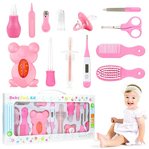 PTN Babypflege Set, Pflegeset Neugeborene 13 teilige Baby,for Newborn, Infant, Toddler Health and Grooming, Mit Nagelknipser, Pinsel, Datei, Schere, Kamm, für Neugeborene Weihnachten Geschenk