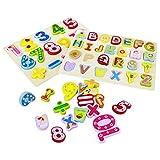 Puzzle Madera Rompecabezas Juguetes Montessori-2 in 1 Puzzles Numeros Alfabeto Infantiles de Madera...