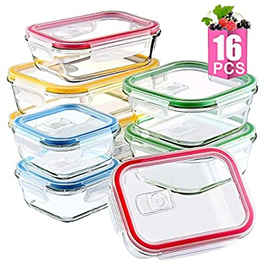 [16 Pieces]Glass Meal Prep Containers Glass-Food Storage Containers with Lids-Meal Prep Food Prep Containers-Glass Storage Containers with Lids-Glass Lunch Containers