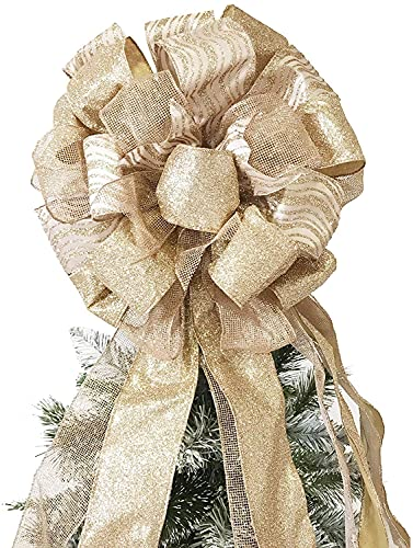 Christmas Tree Topper,27x12 Inches Large Toppers Bow with Streamer Wired Edge for Christmas Decoration