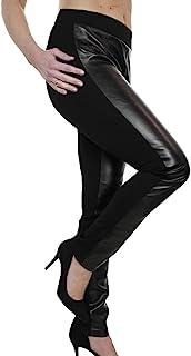 2af447fc24fc6 icecoolfashion Ice (1482) Pantalon Noir en Simili Cuir et Spandex pour  Grande Taille