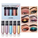 UCANBE 5Pcs/lot Dazzling Glitter Liquid Eyeshadow Set Makeup Metals Foil Shimmer Chameleon Eye Shadow Quick Dry High Pigmented Shine Cosmetic Gift Set (02)