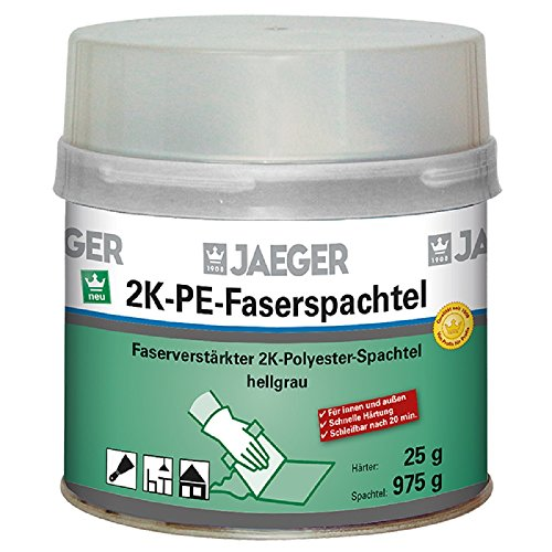Jaeger Faserspachtel, 2-Komponenten Polyesterspachtel, hellgrau 1000g