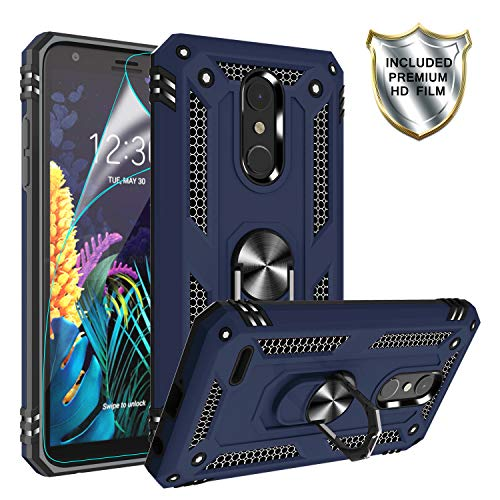 LG K30 (X410) Hülle, LG K10 2018/Harmony 2/Phoenix Plus/Premier Pro LTE Hülle mit HD-Bildschirmschutzfolie, Gritup 360 Grad drehbarer Metallring Kickstand Cover Handyhülle für LG K30 blau