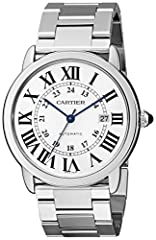 Round watch featuring logoed white dial with Roman numeral markers and blue hands 42 mm stainless steel case with synthetic-sapphire dial window Automatic self-wind movement with analog display Stainless steel bracelet with deployant-clasp closure Wa...