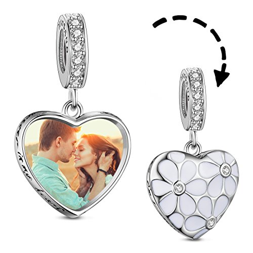 TINYSAND Personalised Photo Charm 925 Sterling Silver Heart Pendant Charm with Flower and Zircon European Style Charms Fit Pandora Bracelet
