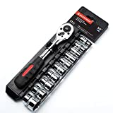 MAXPOWER 11-Piece 3/8' Ratcheting Socket Wrench Set Quick Release Reversible Ratchet Handle and Swappable Spanners Sockets with Hanging Rack