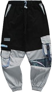 KGYA Men's Elastic Waist Tapered Ankle Length Streetwear Cargo Pants