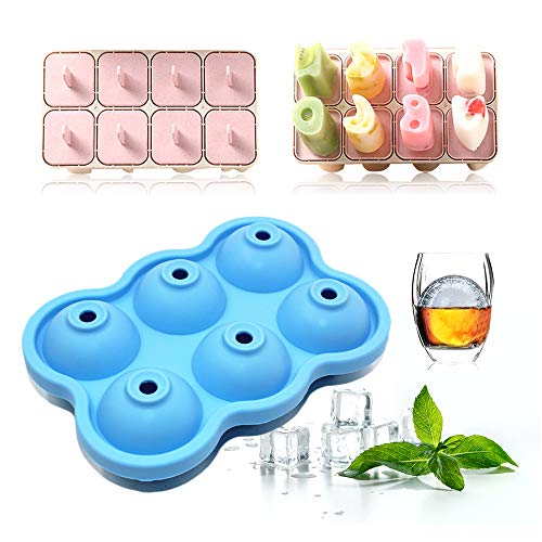 Chingde Ice Maker Mould, 2 PCS Pop Moulds Silicone Ball Mould Ice Cube Trays Ice Cream Moulds Popsicle Mould Plastic Ice Lolly Marker Reusable DIY Ice Cube Mould