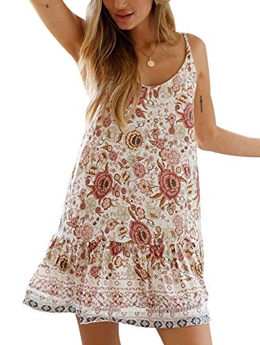SHIBEVER Women's Summer Sexy Floral Printed Dress Adjustable Spaghetti Strap Mini Beach Casual Ruffle Swing Boho Sundress White S