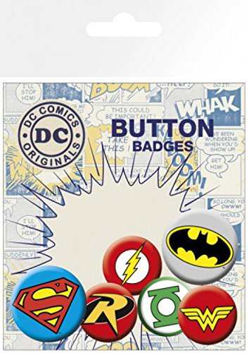 1art1 DC Comics - Superman, Batman, 4 X 25mm & 2 X 32mm Chapas Set De Chapas (15 x 10cm)
