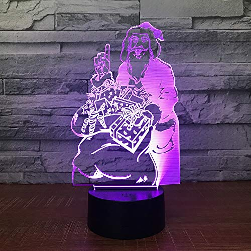 Lámpara de mesa creativa 3d Santa Claus novedad LED multicolor acrílico LED...