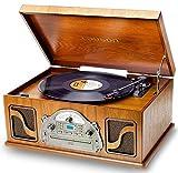 Tourne-Disque Nostalgia avec Haut-Parleur | Système de Musique avec Radio rétro | Platine Vinyle Bluetooth | Système stéréo avec CD | 3 Vitesses 33/45/78 | Enregistrement USB | 2 Haut-parleurs